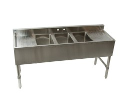 3 Compartment Bar Sink with 30″ Double Drain Boards (21″ x 96″)