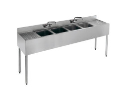4 Compartment Bar Sink with Double Drain Boards (21″ x 96″)