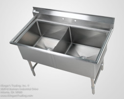 16 Gauge 2 Bowl Sink (24x24x14D) with Stainless Legs